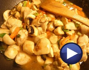 Pollo en salsa de ostras