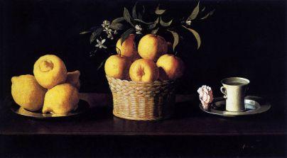 Naturaleza muerta con limones, naranjas y una rosa, Franciso de Zurbarán