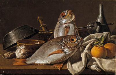 Bodegón con besugos, naranjas, ajo, condimentos y utensilios de cocina, Luis Egidio Meléndez, 1772